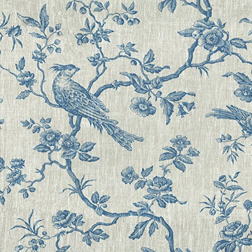 Textiles français Leinenstoff | Die hoheitsvollen Vögel Stoff - Denim Blau und Naturfarbe (Grundfarbe) | 100% Leinenstoff | Stoffbreite: 150 cm (pro Laufmeter)*