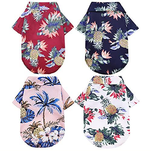 ZDZDY Paquete de 4 sudaderas hawaianas para perros de verano para mascotas Camisa fresca transpirable ropa para perros pequeña mediana y grande tamaño niño niña mascota ropa (4 piezas S-L)