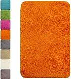 proheim Badematte rutschfester Badvorleger Premium Badteppich 1200 g/m² weich & kuschelig Hochflor, Farbe:Orange, Produkt:Badematte 60 x 90 cm