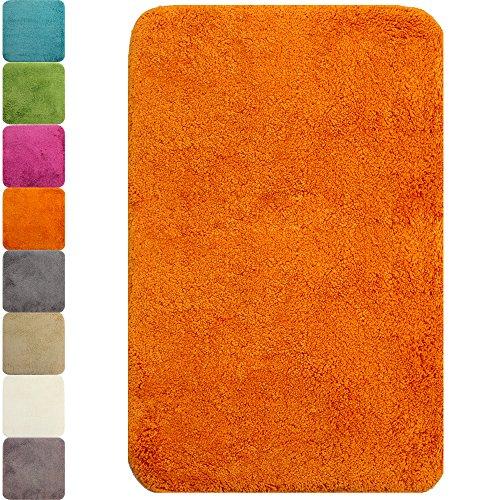 PROHEIM Badematte Lasalle 50x80cm orange - Rutschfester Badteppich - Weicher und Kuscheliger Hochflor Badvorleger - 1200 g/m² ÖkoTex100 Maschinenwaschbar