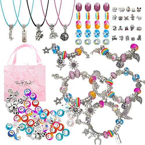 RLGPBON Charm Bracelet Making Kit ,65 Pieces DIY Jewelry Making Kit Charms Bracelets for Making DIY Jewelry Advent Calendar Party Favor Craft Birthday Gifts for Teens Girls