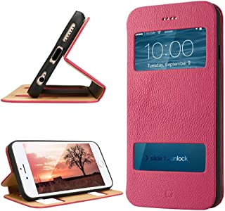 labato iPhone 6 Case, Genuine Leather Stand Magnetic Cases/Covers Compatible with IOS8 Fold Stand & Window Open Case+100% ...