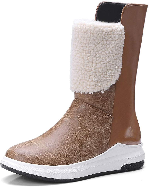Women's Booties, Plus Velvet Low-Heel Scrub Leather Snow Boots Ladies Non-Slip Cotton shoes Fashion Boots (color   A, Size   38)