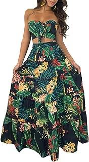 Women Two Piece Set Dress Crop Top Skirt Floral Print Bandeau Strapless Sleeveless Ruffle Tied High Waist Casual Suit