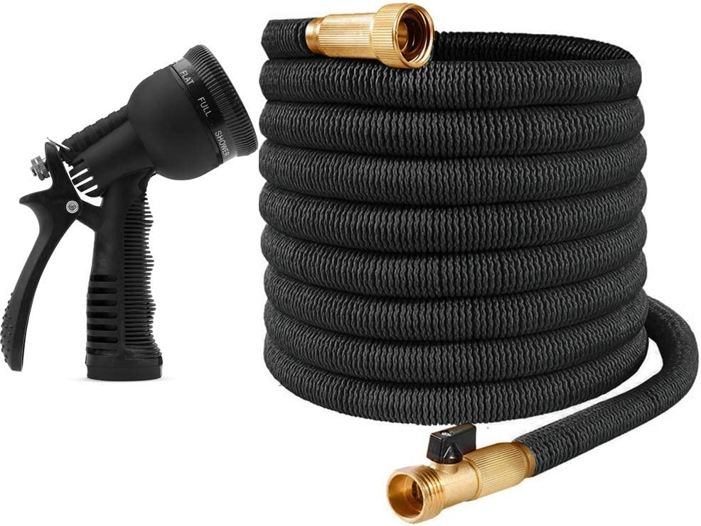 8 Function Hose Spray Nozzle Ovareo Garden Hose 25 FT, Green Heavy Duty Triple Latex Core with 3//4 Solid Brass Fittings Flexible and Expandable Garden Hoses Easy Storage Kink Free Water Hose