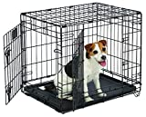 Small Dog Crate | MidWest Life Stages 24' Double Door Folding Metal Dog Crate | Divider Panel, Floor...