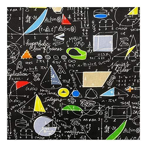 BU 1pcs Refrescan 110cm Impresión Digital Negro Matemático Modelo Fórmula 100% Tela De Algodón De Costura Material De La Tela De DIY Camisa Ropa (Color : Wide 110cmx50cm)