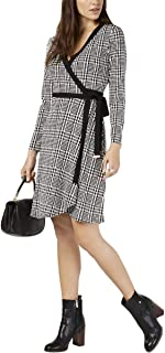 Tommy Hilfiger Womens Houndstooth Surplice Wrap Dress