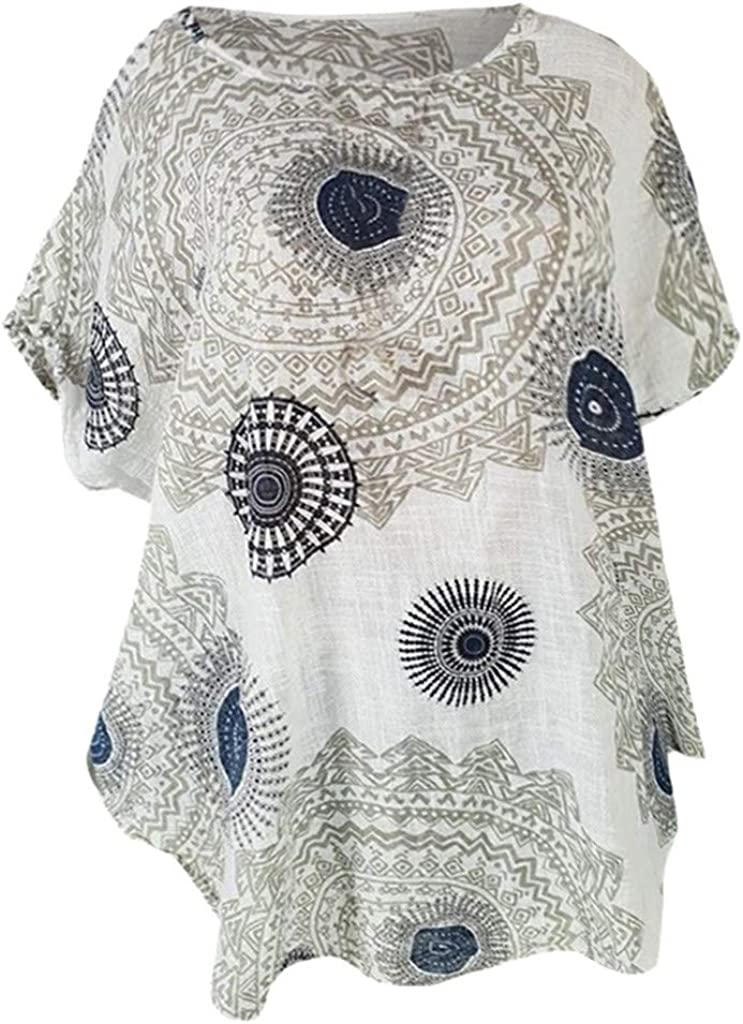 Short Sleeve Wave Floral Print T-Shirt Blouse Casual Round Neck TopsWomen