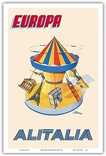ヨーロッパ - カルーセル、エッフェル塔、ビッグベン - アリタリア航空 - ビンテージな航空会社のポスター によって作成された アミエート・フィオーレ c.1956 - アートポスター - 31cm x 46cm