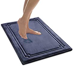 MICRODRY SoftLux Charcoal Infused Memory Foam Framed Bath Mat with GripTex Skid Resistant Base - 21x34 Blue
