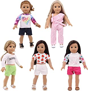 yeesport 5 Sets 18 Inch Doll Clothes Set Fashion Doll Summer Clothes Doll Sport Shorts Set Doll Sports Outfits Girl Doll O...