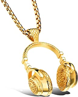 Hemlock Hip Hop Necklace, Womens Mens Punk Style Necklace Microphone Earphone Pendant Necklace Chain Choker (Gold)