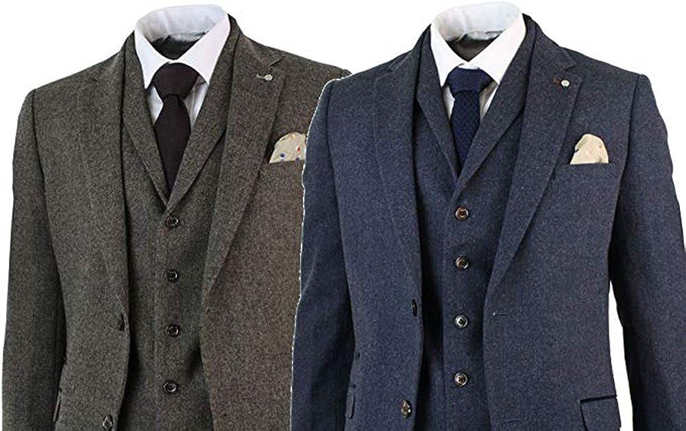 3 Piece Grey Tweed Herringbone Men's Groo specialty shop Fit Limited time sale Slim Vintage Suits