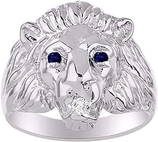 Increíble anillo de inicio de conversación con diamante natural genuino y magnífico zafiro rojo cabeza de león en plata de...