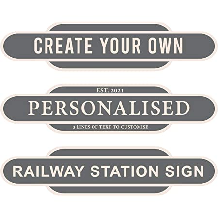 Duke Gifts Personalised Train Signs Solid Colour Free Standing 10MM Add Your Own Text Display Signs Grey
