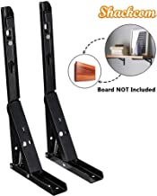 Shackcom Folding Shelf Brackets, 14 Inch 2 Pack Heavy Duty Collapsible Shelf Bracket for Table, Work Bench, Corrosion Resistant, Rust-Proof, Durable & Reliable - Cold Rolled Steel