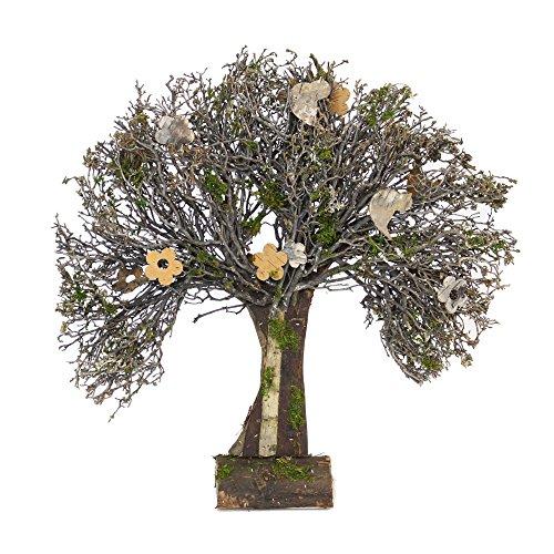 Albero di decorazione, stile country, legno circondato di corteccia e decorato di diversi materiali naturali, di uccello e di fiori in corteccia di betulla