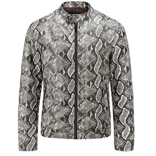 OMINA Snakeskin Jacket for Men, Casual Autumn Long Sleeve Winter Pattern Washed Outwear Zipper Coat Gray