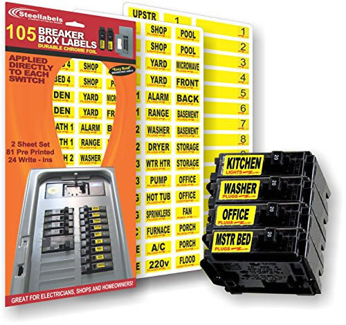 Circuit Breaker Decals - 105 Tough vinyl labels for Breaker Panel Boxes - Great for Home or Office - Apartment Complexes and Electricians - Placed directly on Switch or Fuse - Bright