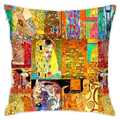 akingstore Gustave Klimt Art_472 Valentine Throw Pillow Covers Soft Particles Cotton Linen Cushion Covers 18 X 18 inch for Couch Bedroom Car