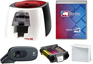 Badgy100 Color Plastic ID Card Printer with Complete Supplies Package with Bodno ID Software & Photo ID Camera