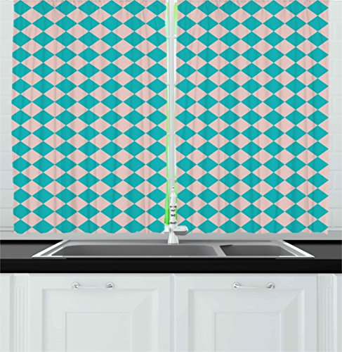 Ambesonne Geometrical Kitchen Curtains, Vintage Retro 50s 60s Inspired Kitchen Tiles in Diamond Shapes Print, Window Drapes 2 Panel Set for Kitchen Cafe Decor, 55' X 39', Turquoise Lilac