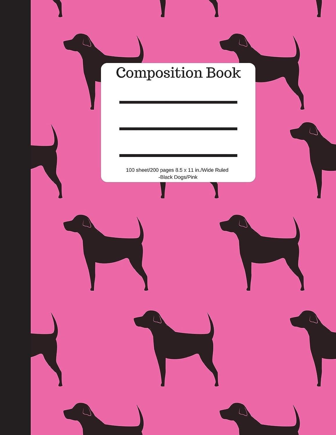 市の花やる無視できるComposition Book 100 sheet/200 pages 8.5 x 11 in.-Wide Ruled-Black Dogs Pink: Puppy Notebook for School Kids | Student Journal | Writing Composition Book | Soft Cover