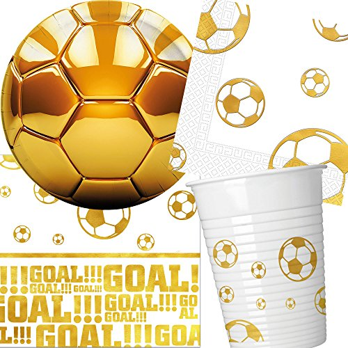 Carpeta 57-TLG. Partyset * Voetbal * met bord + beker + servetten + tafelkleed + decoratie | in gouddesign | WK voetbal kinderen verjaardag motto ballonnen