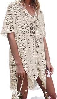 Howely Women Sunscreen Baggy Hollow Out Beach Crochet Cardigan for Bikini