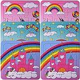 TE-Trend 6 Stück Einhorn Pferd Unicorn Regenbogen Mini Puzzle Kinder Mädchen 14cm 16-teilig...