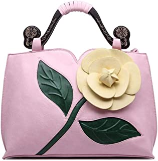 Simple handbag, retro shoulder bag, rose flower bag, large capacity travel bag, pu female bag, a variety of colors are available, highlighting the temperament (Color : Pink, Size : One size)