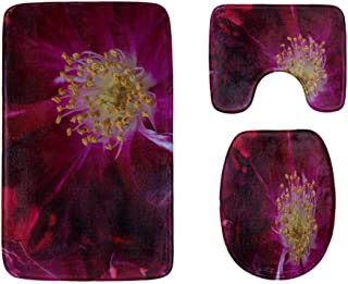 Flowers, Stamens and Stamens Bathroom Rug Mats Set 3-Piece,Soft Shower Bath Rugs,Contour Mat and Toilet Seat Lid Cover No...