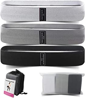Qfeng Booty Bands, Resistance Bands Set for Legs and Butt, Exercise Stretch Bands, Wide Anti Slip Fabric Sports Fitness Ba...