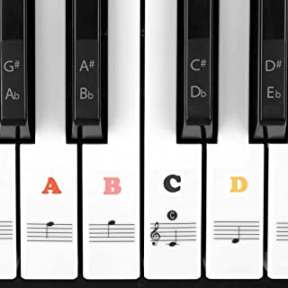 Juliet Music Piano Keyboard Stickers 88 Key, Learn to Play Piano for 88/61/54/49/37 Keys. Full Set Kids and Beginners Lear...