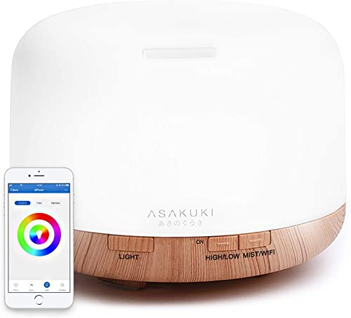 ASAKUKI Smart Wi-Fi Essential Oil Diffuser, App Control Works with Alexa, 500mL Aromatherapy Humidifier for Air Purif...