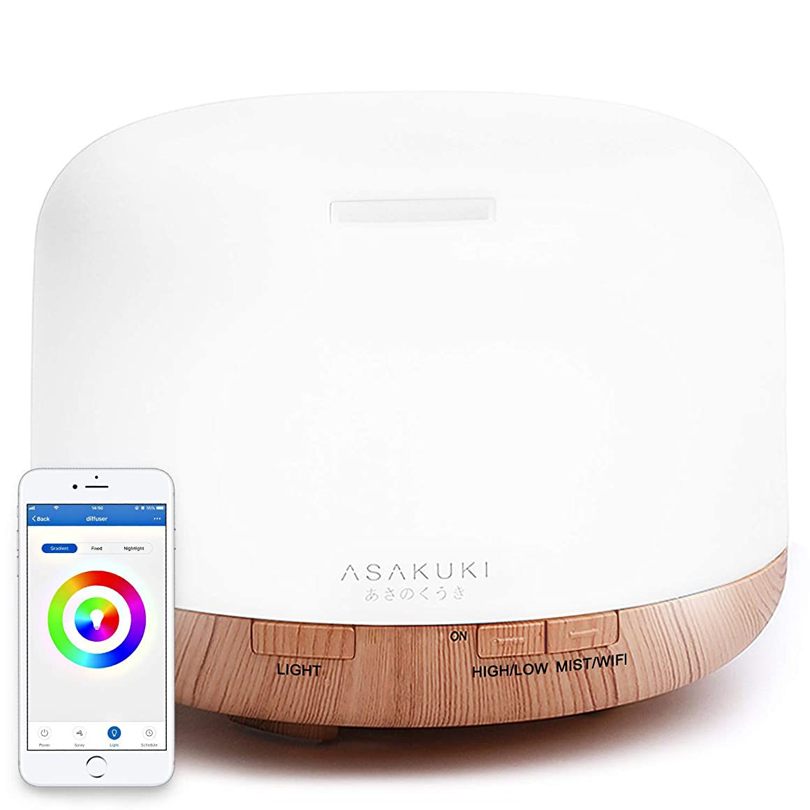 半導体練習したいっぱいASAKUKI ベッドルーム、オフィス、より良い睡眠&呼吸 雰囲気を緩和するアレクサ2019アップグレード設計500ミリリットルアロマ加湿器と互換性 あるスマート -エッセンシャルオイルディフューザーアプリ制御 標準 2018アップグレードバージョン