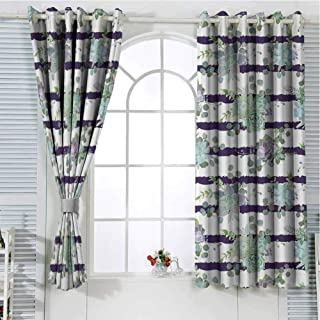 Jinguizi Grommet Window Curtain Blackout Curtain Succulent,Natural Cactus Pattern in Modern Funky Style Striped Backdrop,White Almond Green Navy Blue Drapes Panels 108 x 72 inch