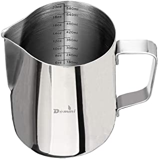 Domini Milk Frothing Pitcher, Stainless Steel Metal 20 oz -For Milk Frothers, Espresso Cappuccino Coffee, Creamer,Steaming,chef,motta (Measurement inside)