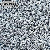 Kurtzy Alphabet Buchstaben Spacer Perlen 1000 Stück - 6x6mm mit Silber Beschichtet - Rund Perlen für Armbänder Auffädeln, Halsketten, Schlüsselanhänger und Kinderschmuck - Perfekt für...
