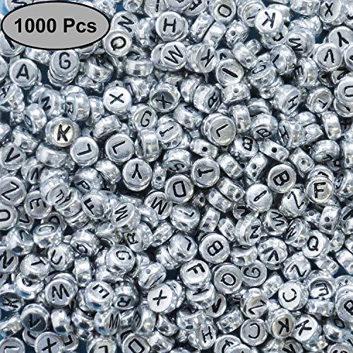 Kurtzy Alphabet Buchstaben Perlen (1000 Stück) - (6 x 6mm) Buchstabenperlen mit Silber Beschichtet - Rund Perlen für Armbänder Auffädeln, Halsketten, Schlüsselanhänger und Kinderschmuck