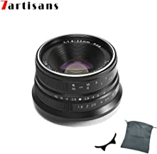 7artisans 25mm F1.8 APS-C Manual Fixed Lens for Fuji Cameras X-A1 X-A10 X-A2,X-A3 X-at X-M1 XM2 X-T1 X-T10 X-T2 X-T20 X-Pro1 X-Pro2 X-E1 X-E2 X-E2s (Black)