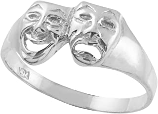 comedy tragedy ring silver