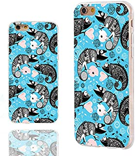 iPhone 6s Case,iPhone 6 Case,Case for iPhone 6 6s 4.7 Inch,ChiChiC [Arty Series] Full Protective Slim Flexible Durable Soft TPU Cases,Funny Cute Cartoon Animal Black Chameleon Lizard on Teal Blue