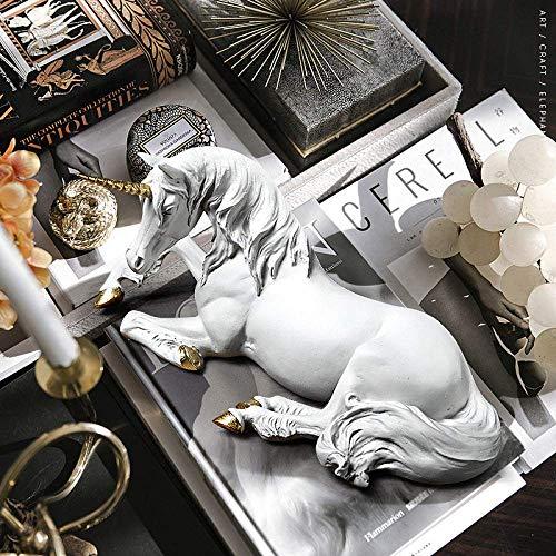 ZLJ Figuras de estatuas de Unicornio Modernas esculturas Decorativas de Resina Blanca Minimalista nórdica para decoración del hogar...