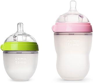COMOTOMO可么多么自然触感婴儿奶瓶 - 2件装(绿色/粉色,5盎司/8盎司)