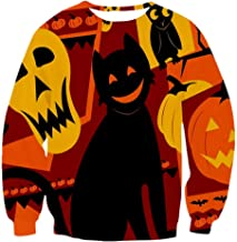 DORIC Women Halloween 3D Pumpkin Printed Party Long Sleeve O-Neck Pullover Sweatshirt