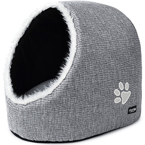 PetPäl Cat Bed, Cuddle Cave - Cosy & Soft Igloo Pet House for Kittens, Puppies, Small Dogs - Cuddly Hideout, Hideaway & Sleeping Place with Comfortably Cushion - Stylish stone grey suits every home