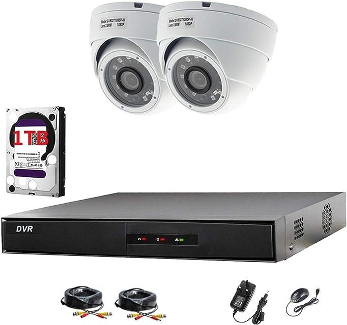 Hikvision DVR CCTV Kit con 4canales y 2x Sony cámaras domo 1080p Full HD (blanco) con 24MP Sony CMOS imx323Full HD TVI & 36mm lente 20m IR 20m BNC cables + 1TB Disco duro (preinstalado)