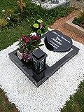 ABC Urnengrab Grabstein Schwedisch Schwarz Urnengrabstein Grabmal Granit Grabanlage Grabmal mit Grabumrandung 80cm x 80cm inklusive Grabstein in Herzform und Gravur